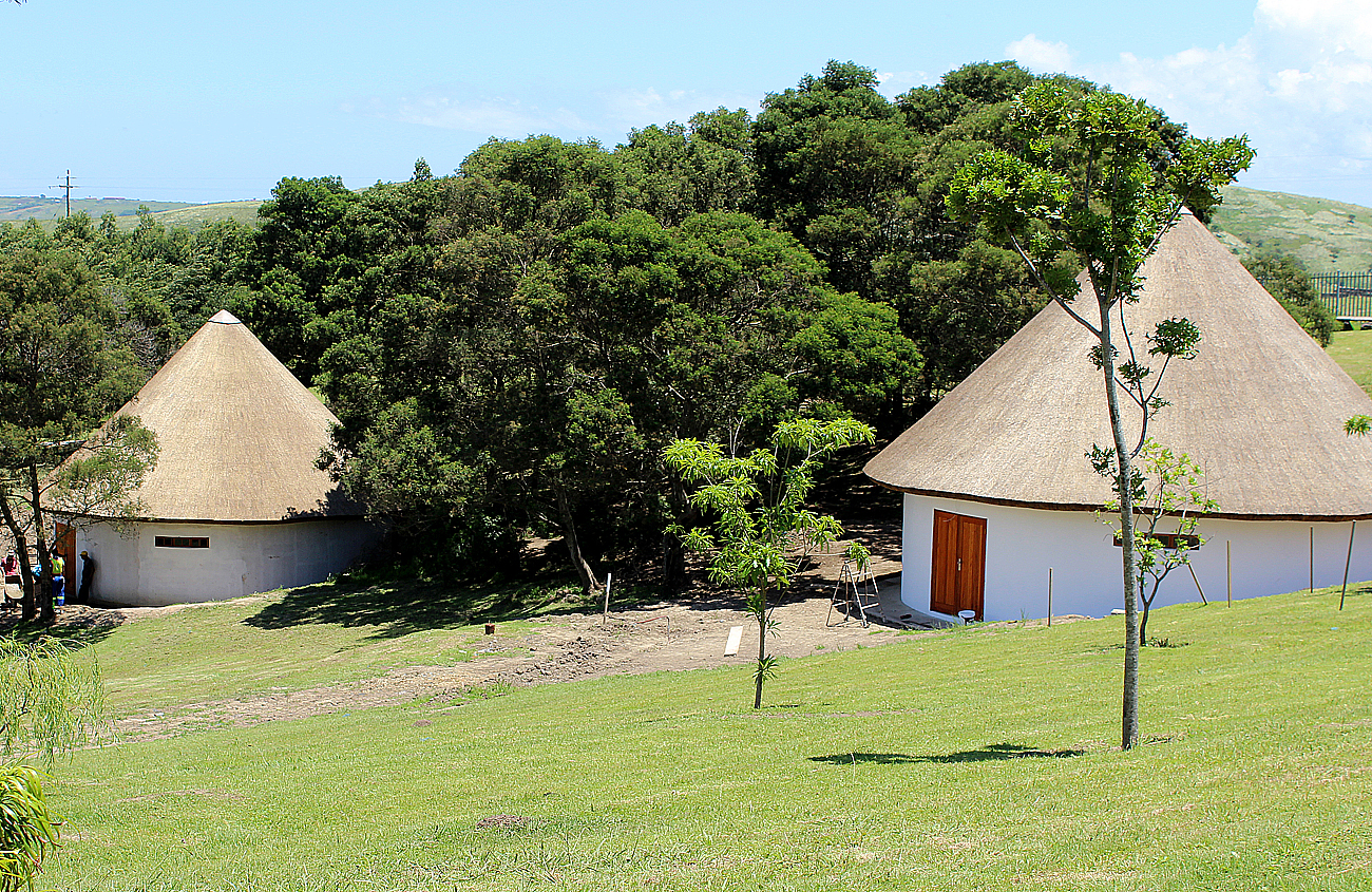 Two of the four traditionally thatched Xhosa huts in Heritage Valley at the Donald Woods Centre at Hobeni.